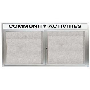 """Aarco ODCC3672RH 2 Door Outdoor Enclosed Bulletin Board with Aluminum Frame and Header 36"""" x 72"""""""