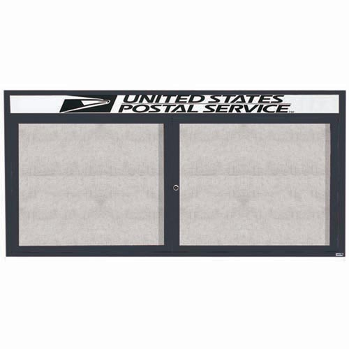 "Aarco ODCC3672RHBA 2 Door Outdoor Enclosed Bulletin Board with Bronze Anodized Aluminum Frame and Header 36"" x 72"""