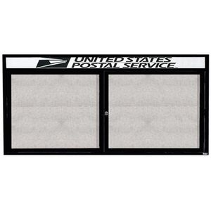 "Aarco ODCC3672RHBK 2 Door Outdoor Enclosed Bulletin Board with Black Powder Coated Aluminum Frame and Header 36"" x 72"""