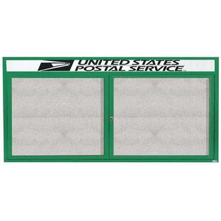 "Aarco ODCC3672RHG 2 Door Outdoor Enclosed Bulletin Board with Green Powder Coated Aluminum Frame and Header 36"" x 72"""