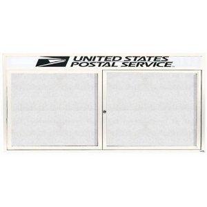 "Aarco ODCC3672RHW 2 Door Outdoor Enclosed Bulletin Board with White Powder Coated Aluminum Frame and Header 36"" x 72"""