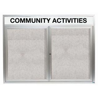 "Aarco ODCC4860RH 2 Door Outdoor Enclosed Bulletin Board with Aluminum Frame and Header 48"" x 60"""