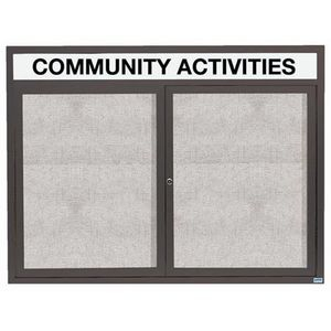 "Aarco ODCC4860RHBA 2 Door Outdoor Enclosed Bulletin Board with Bronze Anodized Aluminum Frame and Header 48"" x 60"""