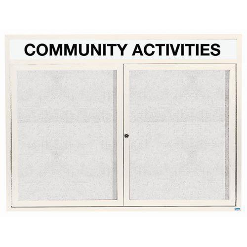 "Aarco  ODCC4860RHW2 Door Outdoor Enclosed Bulletin Board with White Powder Coated Aluminum Frame and Header 48"" x 60"""