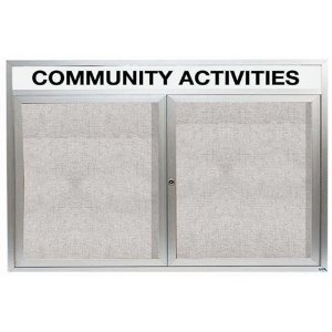 """Aarco ODCC4872RH 2 Door Outdoor Enclosed Bulletin Board with Aluminum Frame and Header 48"""" x 72"""""""
