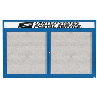 "Aarco ODCC4872RHB 2 Door Outdoor Enclosed Bulletin Board with Blue Powder Coated Aluminum Frame and Header 48"" x 72"""
