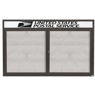 "Aarco ODCC4872RHBA 2 Door Outdoor Enclosed Bulletin Board with Bronze Anodized Aluminum Frame and Header 48"" x 72"""