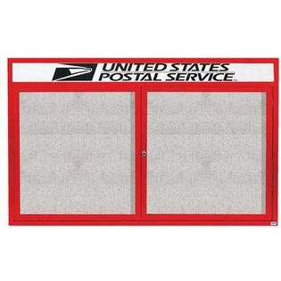 "Aarco ODCC4872RHR 2 Door Outdoor Enclosed Bulletin Board with Red Powder Coated Aluminum Frame and Header 48"" x 72"""