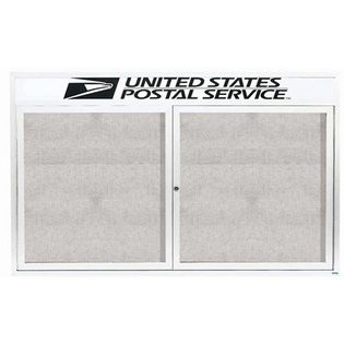 """Aarco ODCC4872RHW 2 Door Outdoor Enclosed Bulletin Board with White Powder Coated Aluminum Frame and Header 48"""" x 72"""""""