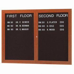Aarco OADCO3648R 2 Door Outdoor Enclosed Directory Board with Aluminum Wood-Look Oak Finish 36'' x 48''