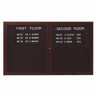 "Aarco OADCWW3660R 2 Door Outdoor Enclosed Directory Board with Aluminum Wood-Look Walnut Finish 36"" x 60"""