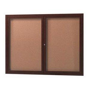 "Aarco ODCCWW3648R 2 Door Outdoor Enclosed Bulletin Board with Aluminum Wood-Look Walnut Finish  36"" x 48"""