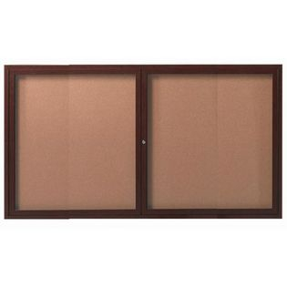 "Aarco ODCCWW3660R 2 Door Outdoor Enclosed Bulletin Board with Aluminum Wood-Look Walnut Finish  6"" x 60"""
