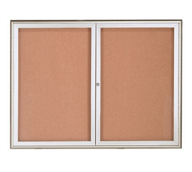 Aarco WFC3648 2 Door Enclosed Bulletin Board with Waterfall Style Aluminum Frame - Silver Finish 36