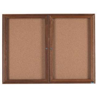 Aarco WBC3648R 2 Door Enclosed Bulletin Board with Walnut Finish 36