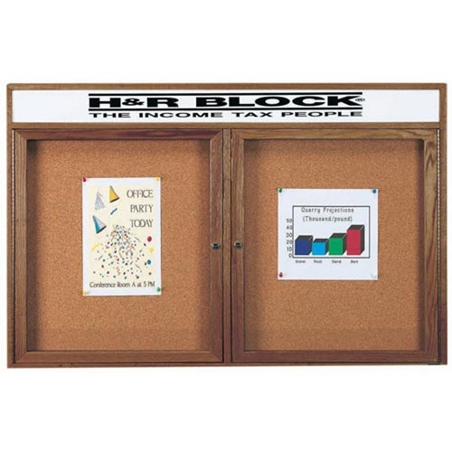 Aarco WBC3660RH 2 Door Enclosed Bulletin Board with Header and Walnut Finish 36