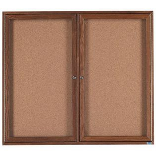 Aarco WBC4860R 2 Door Enclosed Bulletin Board with Walnut Finish 48
