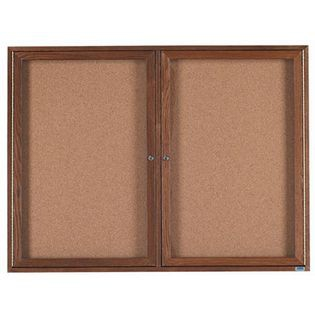 Aarco WBC4872R 2 Door Enclosed Bulletin Board with Walnut Finish 48