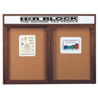 Aarco WBC4872RH 2 Door Enclosed Bulletin Board with Header and Walnut Finish 48