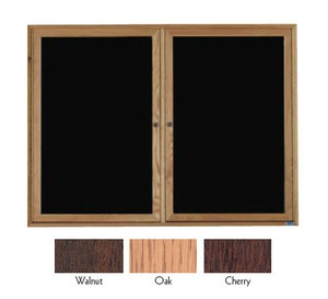 Aarco WDC3648 2 Door Enclosed Changeable Letter Board with Walnut Finish 36