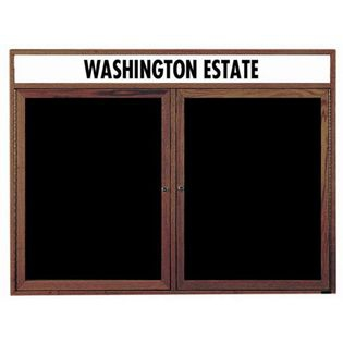 Aarco WDC3648H 2 Door Enclosed Changeable Letter Board with Walnut Finish and Header 36