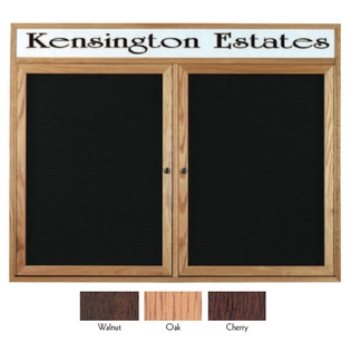 Aarco WDC3672H 2 Door Enclosed Changeable Letter Board with Walnut Finish and Header 36
