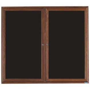 Aarco WDC4860 2 Door Enclosed Changeable Letter Board with Walnut Finish 48