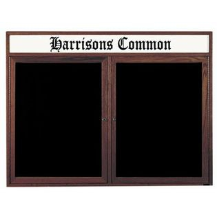 Aarco WDC4872H 2 Door Enclosed Changeable Letter Board with Walnut Finish and Header 48