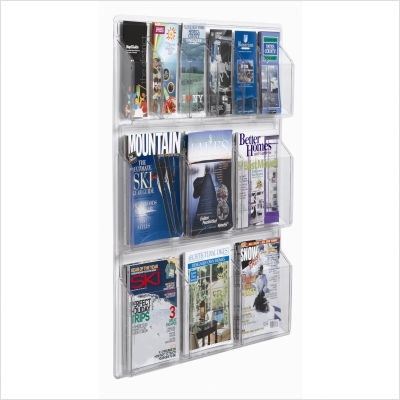 Aarco LRC102 Clear-Vu Combination Pamphlet / Magazine Display-4 Pamphlets, 2 Magazines