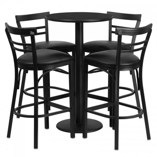 Flash Furniture 24'' Round Black Laminate Table Set with 4 Ladder Back Bar Stools - Black Vinyl Seat [RSRB1033-GG]
