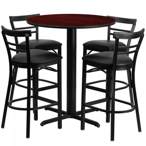 Flash Furniture 24'' Round Mahogany Laminate Table Set with 4 Ladder Back Metal Bar Stools - Black Vinyl Seat [HDBF1034-GG]
