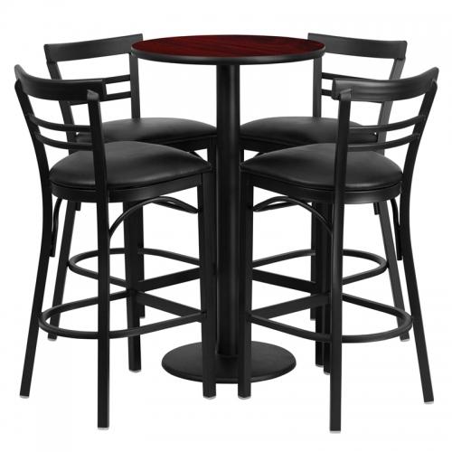 Flash Furniture 24'' Round Mahogany Laminate Table Set with 4 Ladder Back Metal Bar Stools - Black Vinyl Seat [RSRB1034-GG]