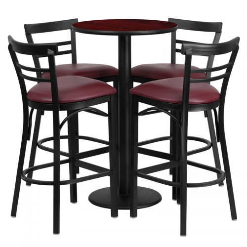 Flash Furniture 24'' Round Mahogany Laminate Table Set with 4 Ladder Back Metal Bar Stools - Burgundy Vinyl Seat [RSRB1038-GG]