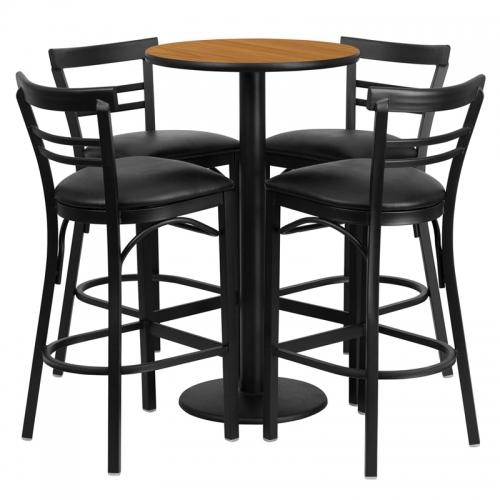 Flash Furniture 24'' Round Natural Laminate Table Set with 4 Ladder Back Metal Bar Stools - Black Vinyl Seat [RSRB1035-GG]