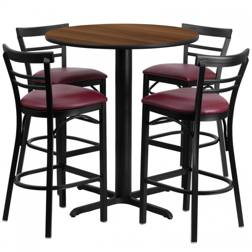 Flash Furniture 24'' Round Walnut Laminate Table Setwith 4 Ladder Back Metal Bar Stools - Burgundy Vinyl Seat [HDBF1040-GG]