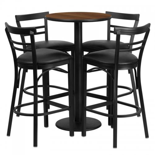Flash Furniture 24'' Round Walnut Laminate Table Setwith 4 Ladder Back Metal Bar Stools - Black Vinyl Seat [RSRB1036-GG]