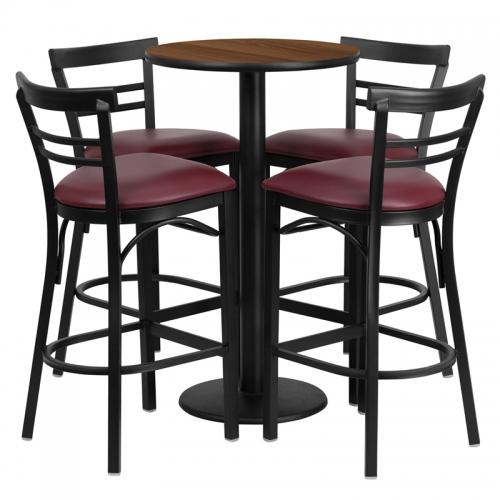 Flash Furniture 24'' Round Walnut Laminate Table Setwith 4 Ladder Back Metal Bar Stools - Burgundy Vinyl Seat [RSRB1040-GG]