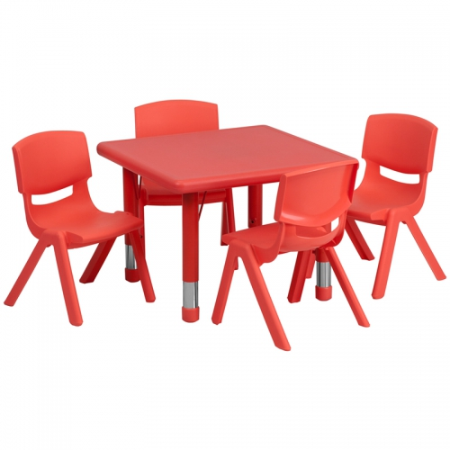 Flash Furniture 24'' Square Adjustable Red Plastic Activity Table Set with 4 School Stack Chairs [YU-YCX-0023-2-SQR-TBL-RED-E-GG]