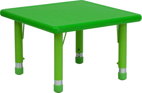 Flash Furniture 24'' Square Height Adjustable Green Plastic Activity Table [YU-YCX-002-2-SQR-TBL-GREEN-GG]