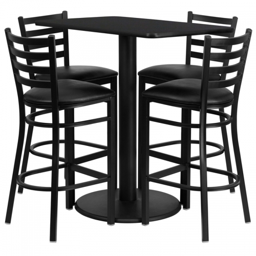 Flash Furniture  24'' x 42'' Rectangular Black Laminate Table Set with 4 Ladder Back Metal Bar Stools - Black Vinyl Seat [RSRB1017-GG]