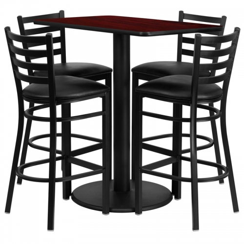Flash Furniture  24'' x 42'' Rectangular Mahogany Laminate Table Set with 4 Ladder Back Metal Bar Stools - Black Vinyl Seat [RSRB1018-GG]