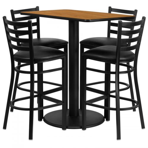 Flash Furniture  24'' x 42'' Rectangular Natural Laminate Table Set with 4 Ladder Back Metal Bar Stools - Black Vinyl Seat [RSRB1019-GG]
