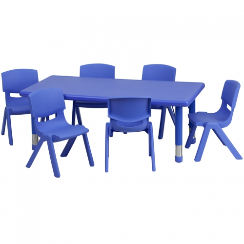 Flash Furniture 24''W x 48''L Adjustable Rectangular Blue Plastic Activity Table Set with 6 School Stack Chairs [YU-YCX-0013-2-RECT-TBL-BLUE-E-GG]