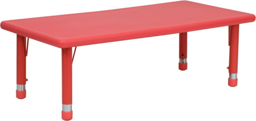 Flash Furniture 24''W x 48''L Height Adjustable Rectangular Red Plastic Activity Table [YU-YCX-001-2-RECT-TBL-RED-GG]