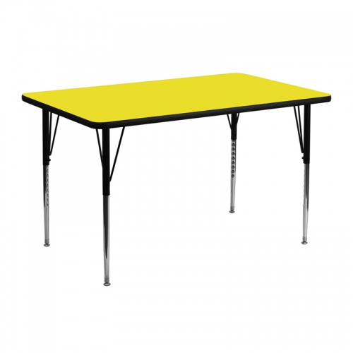 Flash Furniture 24''W x 48''L Rectangular Activity Table with 1.25'' Thick High Pressure Yellow Laminate Top and Standard Height Adjustable Legs [XU-A2448-REC-YEL-H-A-GG]
