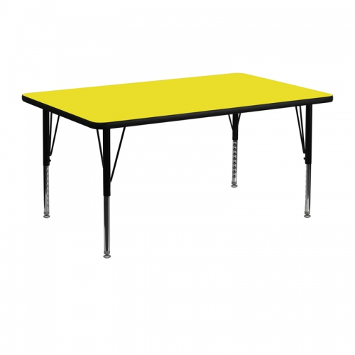 Flash Furniture 24''W x 48''L Rectangular Activity Table with 1.25'' Thick High Pressure Yellow Laminate Top and Height Adjustable Pre-School Legs [XU-A2448-REC-YEL-H-P-GG]