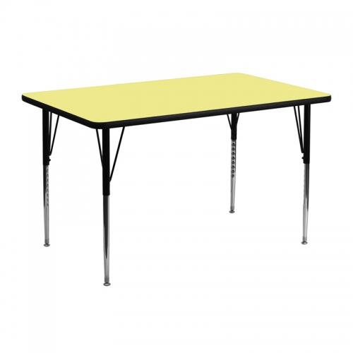 Flash Furniture 24''W x 48''L Rectangular Activity Table with Yellow Thermal Fused Laminate Top and Standard Height Adjustable Legs [XU-A2448-REC-YEL-T-A-GG]