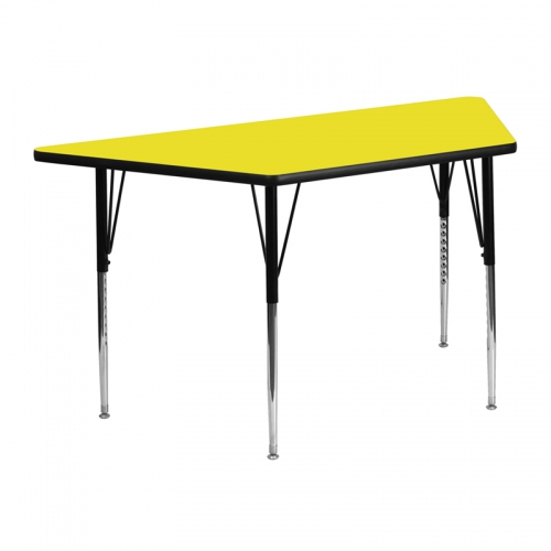 Flash Furniture 24''W x 48''L Trapezoid Activity Table with 1.25'' Thick High Pressure Yellow Laminate Top and Standard Height Adjustable Legs [XU-A2448-TRAP-YEL-H-A-GG]