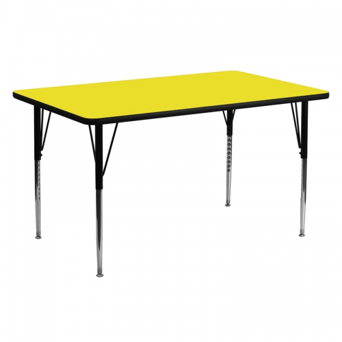 Flash Furniture 24''W x 60''L Rectangular Activity Table with 1.25'' Thick High Pressure Yellow Laminate Top and Standard Height Adjustable Legs [XU-A2460-REC-YEL-H-A-GG]