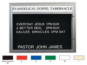"""Aarco DBM4260R Double Sided Illuminated Community Board with Header, Red Powder Finish 42"""" x 60"""""""
